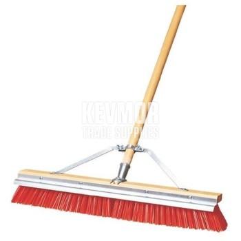 "24"" Broom with Scraper Orange Bristles Polyprop"