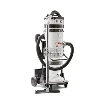 I-Clean 235 Self-Cleaning, Hepa Rated, Twin Motor Vacuum. This dust collector comes complete with Wand and Hose.