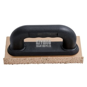 Rub Brick - 24 Grit Carbide Chip - 20cmx10cmx25mm - Steel Sanding Trowel - Bronze/Black Handle
