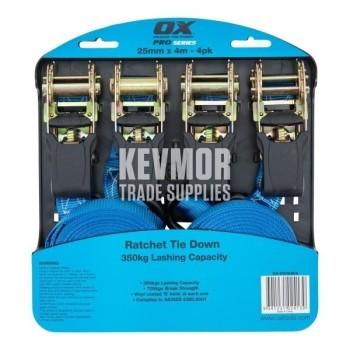 OX Professional 25mm x 4M Ratchet Tie Down Strap - 4pk