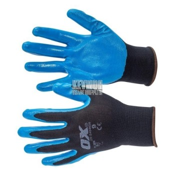 OX Polyester Lined Nitrile Glove - 5 pack (size 9)