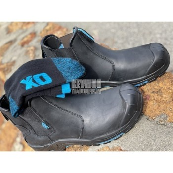 OX Black Elastic Sided Pull On Safety Workboots
