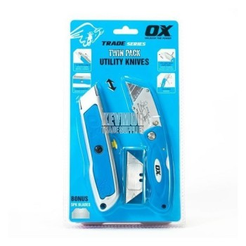 OX Trade Utility Folding and Retractable Knife Twinpack