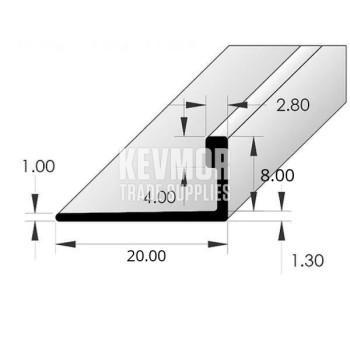 Ceramic Tile Angle Aluminium 8mm x 3m - Silver Bright Protective