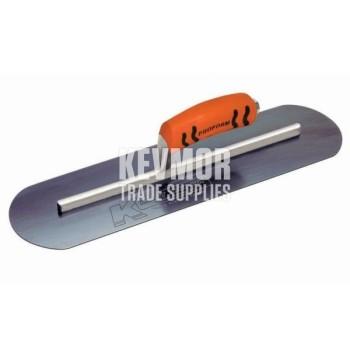 "14"" x 3"" Blue Steel Round End Burn Trowel with ProForm® Handle"